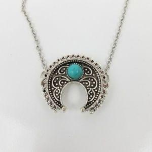 Jewelry - Boho Faux Turquoise Silver Charm Squash Pendant